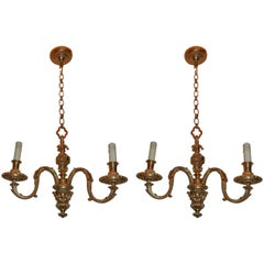 Pair of French Doré Bronze Petite Neoclassical Empire Pendent Chandelier