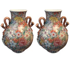 Qing Dynasty Famille Rose, 19th Century Pair of Vases