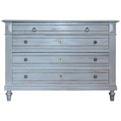 Antique Painted French Empire Chest of Drawers in French Blue