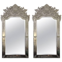 Pair of Large Palatial Venetian Mirrors, Early 20th Century