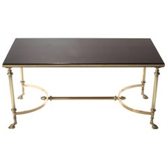 Rare Maison Charles Brass and Lacquer Coffee Table, 1960s
