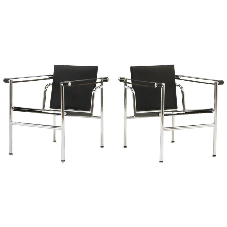 Pair of LC1 Chairs Designed by Le Corbusier, Produced by Gavina