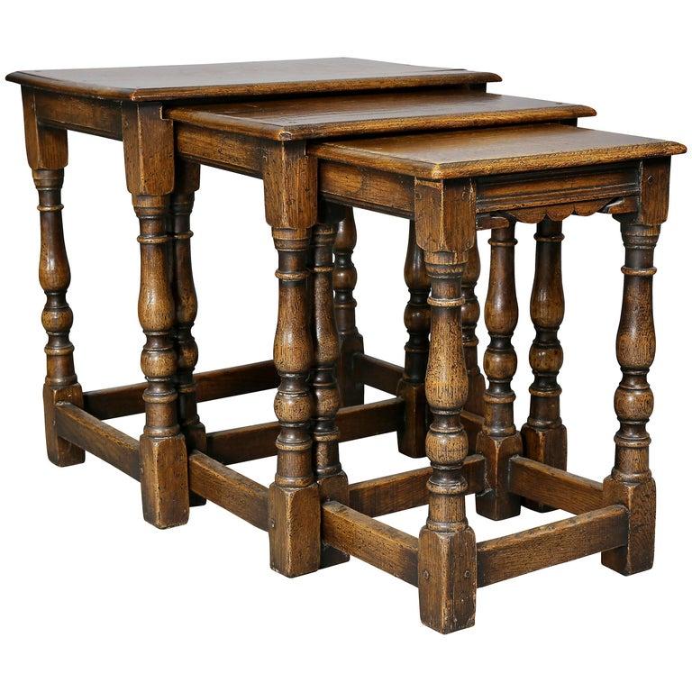 Jacobean Style Oak Nest of Three Tables