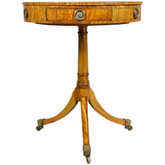 Regency Style Satinwood Drum Table