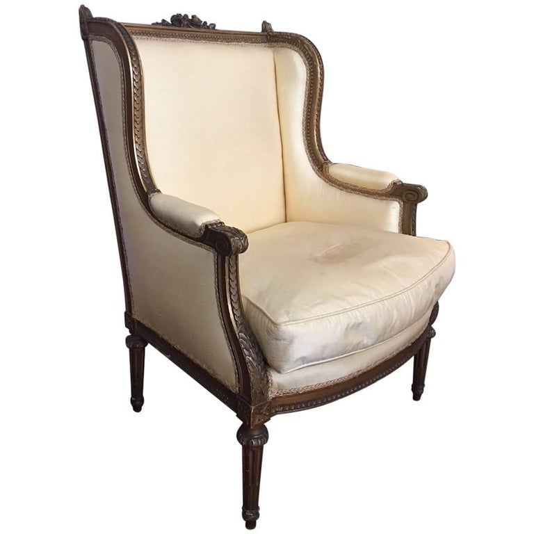 Louis XVI Style Gilded Bergere Chair with a Square Back, 19th Century
