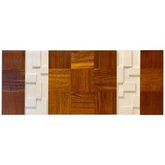 Striking Mid-Century Modern Walnut Geometric Cubist Large Wall Panel