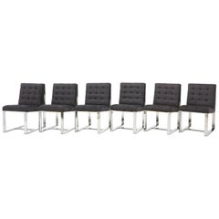 Set of Six Milo Baughman Dining Chairs, Chrome and Chaneille Fabric