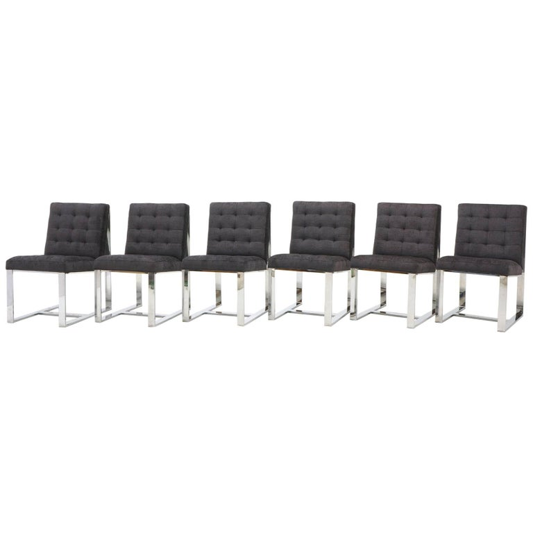 Set of Six Milo Baughman Dining Chairs, Chrome and Chaneille Fabric For Sale