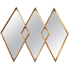 1960s Interlocking Diamond Giltwood Mirror by Labarge
