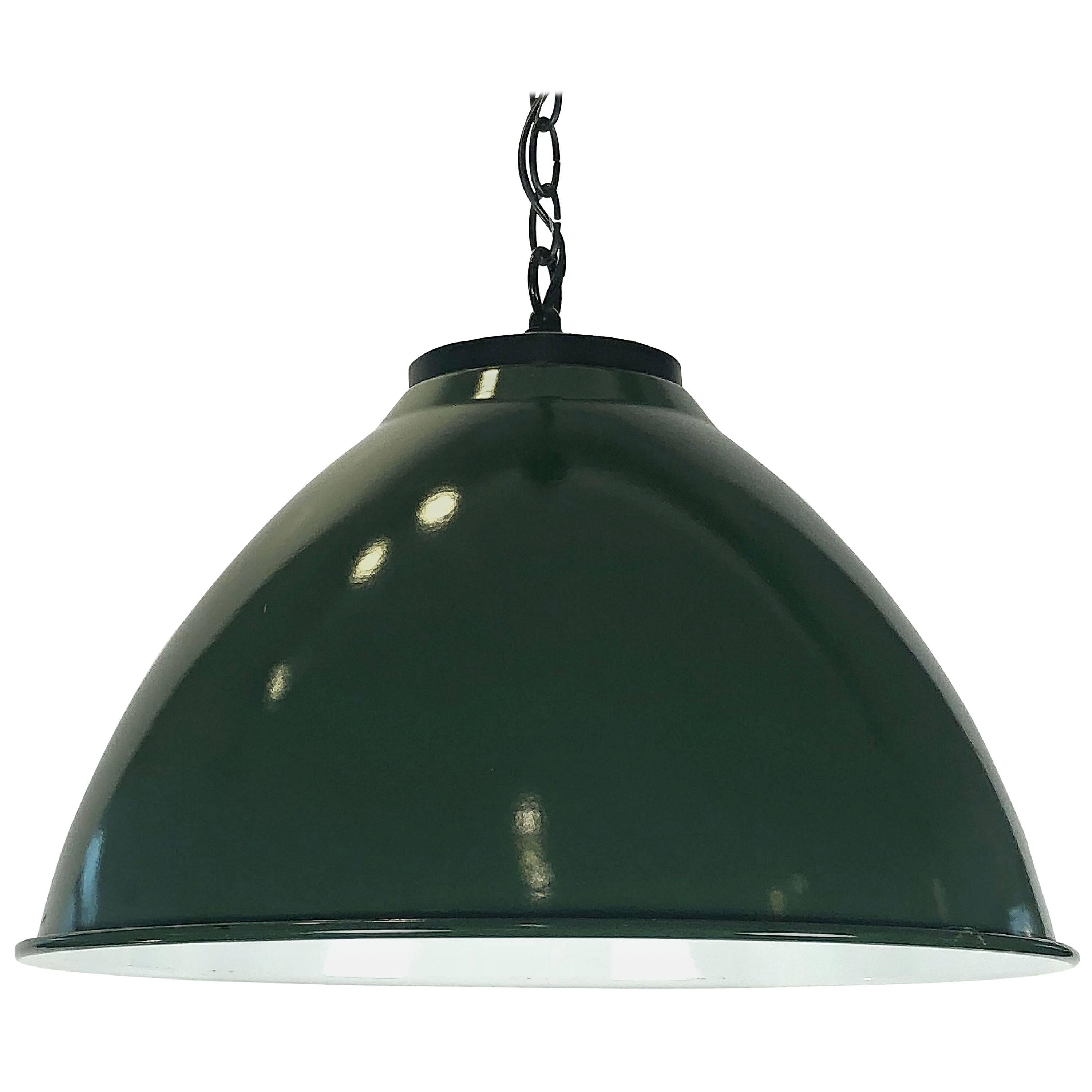 "Green Tole Industrial Hanging Lamps or Lanterns from England (18 1/4"" Diameter)"