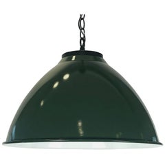 Green Tole Industrial Hanging Lamps or Lanterns from England