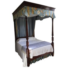 Carved Mahogany Four-Poster Bed with Canopy, 19th Century