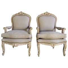 French Louis XV Style Armchairs, circa 1930s, Pair