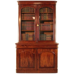 Antique Victorian Mahogany Two-Door Bookcase, English, circa 1870