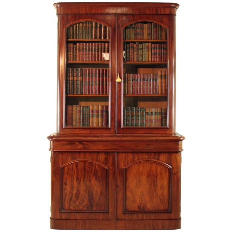 Antique Victorian Mahogany Two-Door Bookcase, English, circa 1870 For Sale