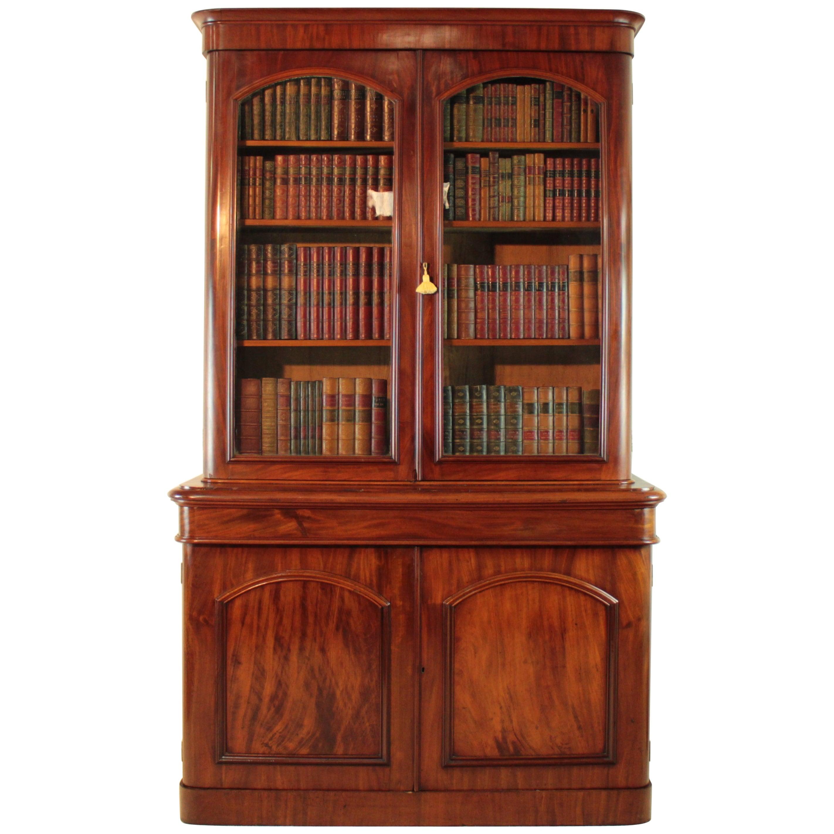 Antique Victorian Mahogany Two-Door Bookcase, English, circa 1870