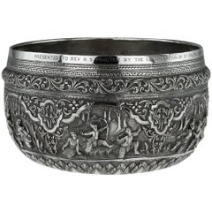 Antique Exceptional Burmese Solid Silver Thabeik Bowl, Rangoon, circa 1920