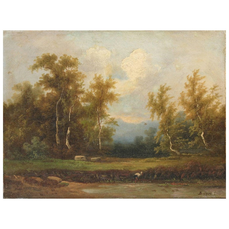 Coelestin Brugner Landscape with a Stork by the Water For Sale