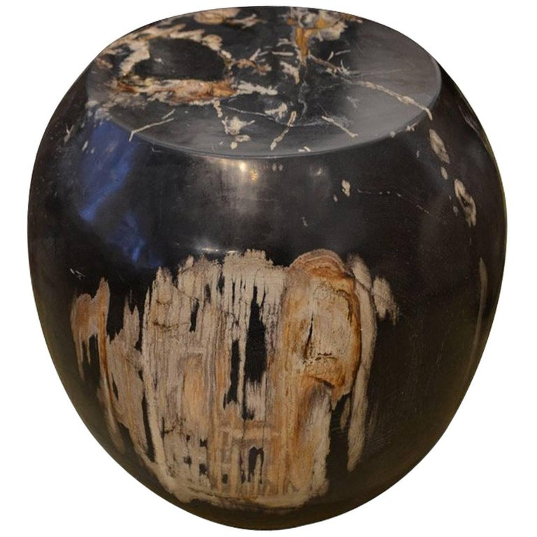 Drum Shape Petrified Wood Side Table For Sale