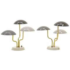 Pair of Gino Sarfatti for Arteluce Three Shade Table Lamp in Shades of Gray