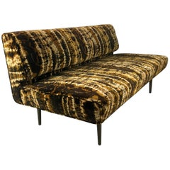 Sofa or Bench with Brass Legs by Edward Wormley for Dunbar, Larsen Velvet