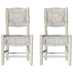 Pair of White Painted African Woven Chairs