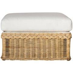 Oversized Wicker Ottoman Upholstered in White Hemp