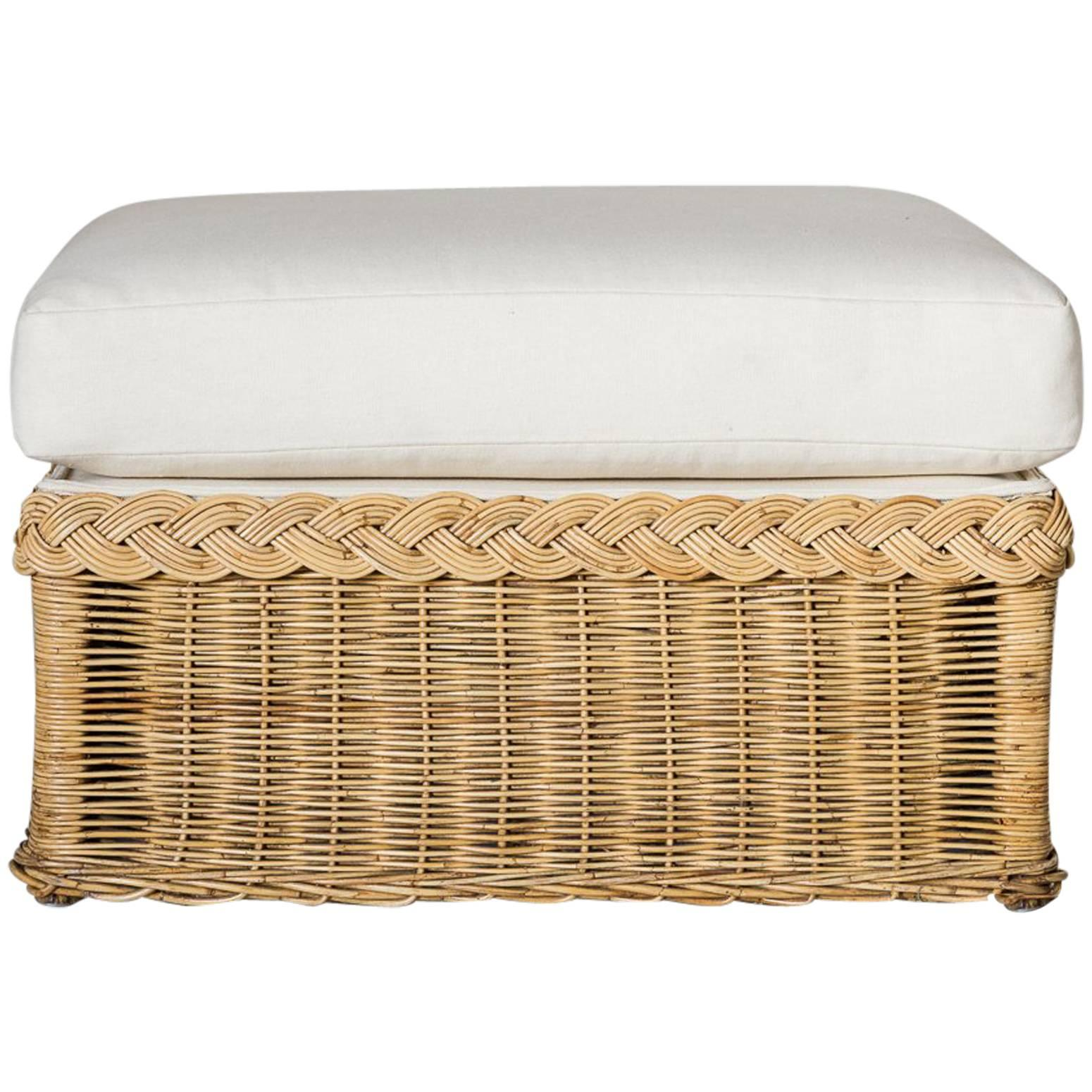 White Wicker Ottoman Sale