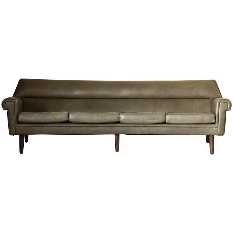 Midcentury Curved Olive Green Leather Sofa