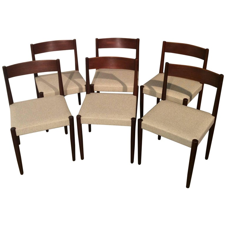 Poul Volther for Frem Rojle Danish Modern Teak Dining Chairs, Set of Six