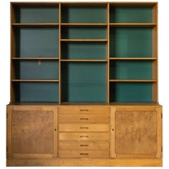 Two-Piece Midcentury Oak Cabinet with Green Painted Back Wall
