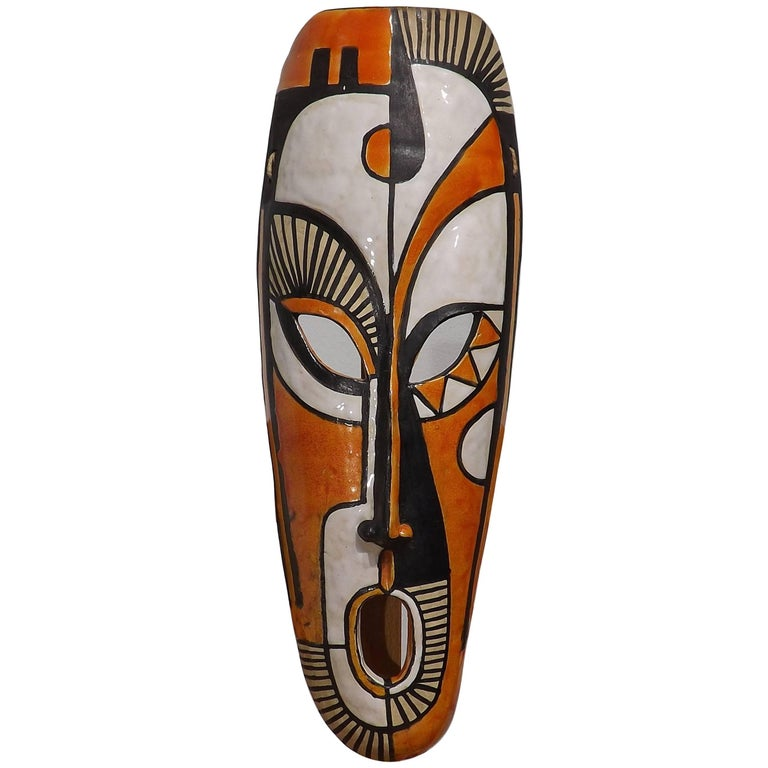 Midcentury Ceramic African Style Mask, Dated 1955