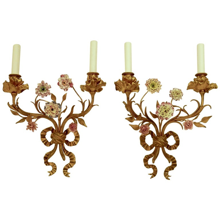 Pair of Louis XVI Style Gilt Bronze Sconces with Porcelain Flowers For Sale