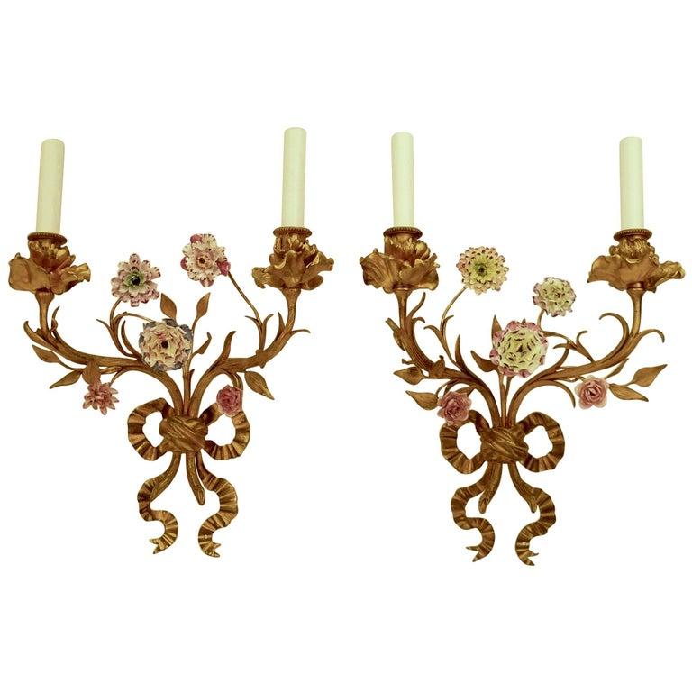 Pair of Louis XVI Style Gilt Bronze Sconces with Porcelain Flowers