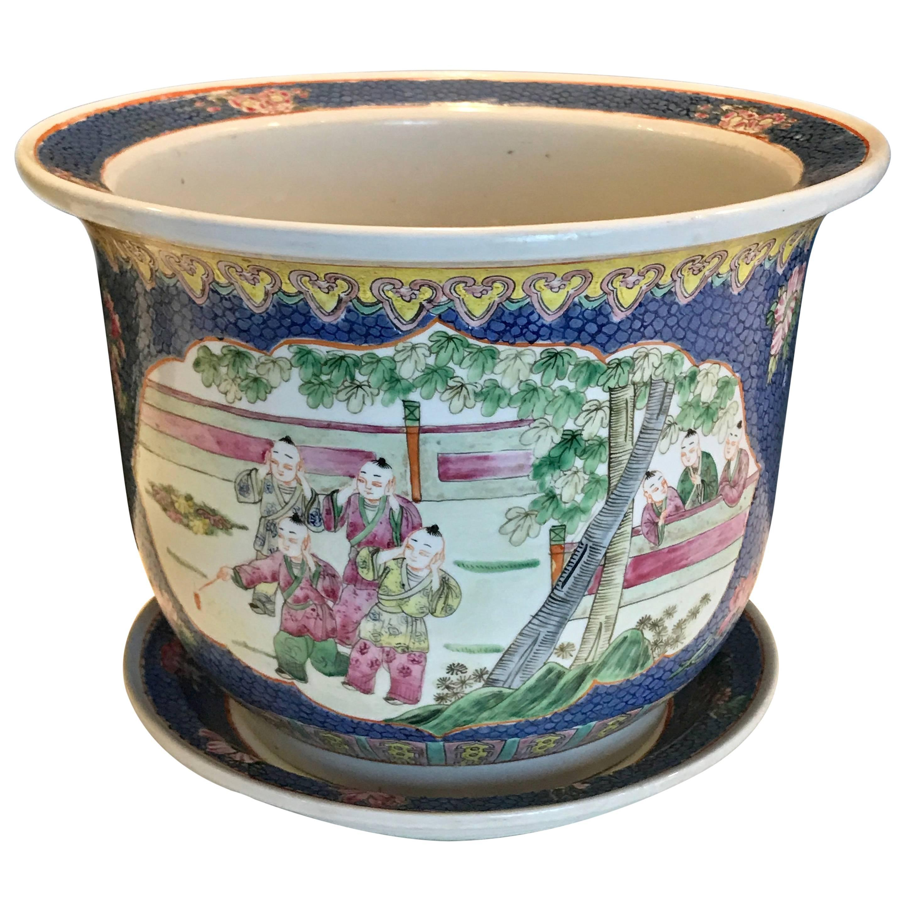Republic Chinese Famille Verte Cachepot and Underplate