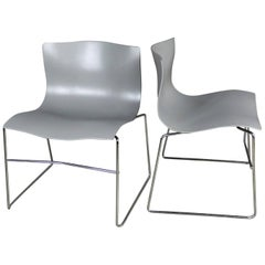 Knoll Handkerchief Side Chairs in Gray by Massimo & Lella Vignelli a Pair