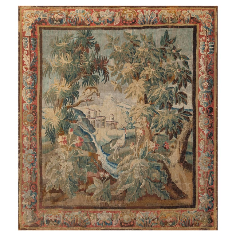 Hand-Loomed Landscape with Stream Tapestry, Aubusson France, Late 17th Century