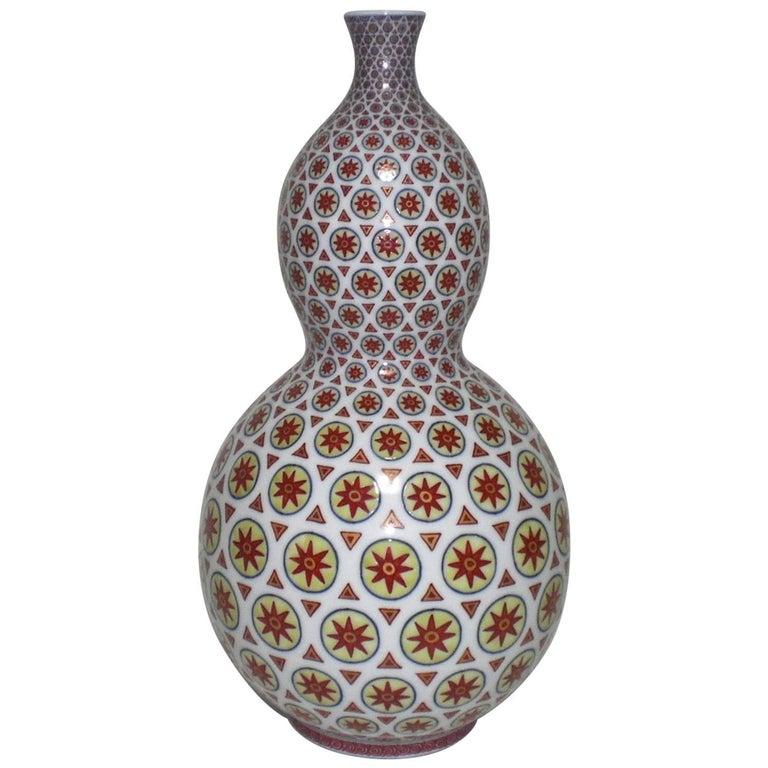 Hand-Painted Decorative Porcelain Vase by Japanese Master Artist
