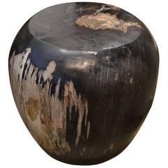 Andrianna Shamaris Drum Shape Petrified Wood Side Table