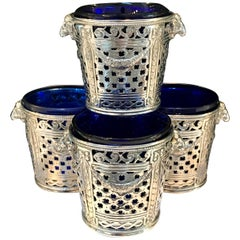 Four Silver Louis XVI Style Cachepots or Salts, with Cobalt Blue Glass Liners