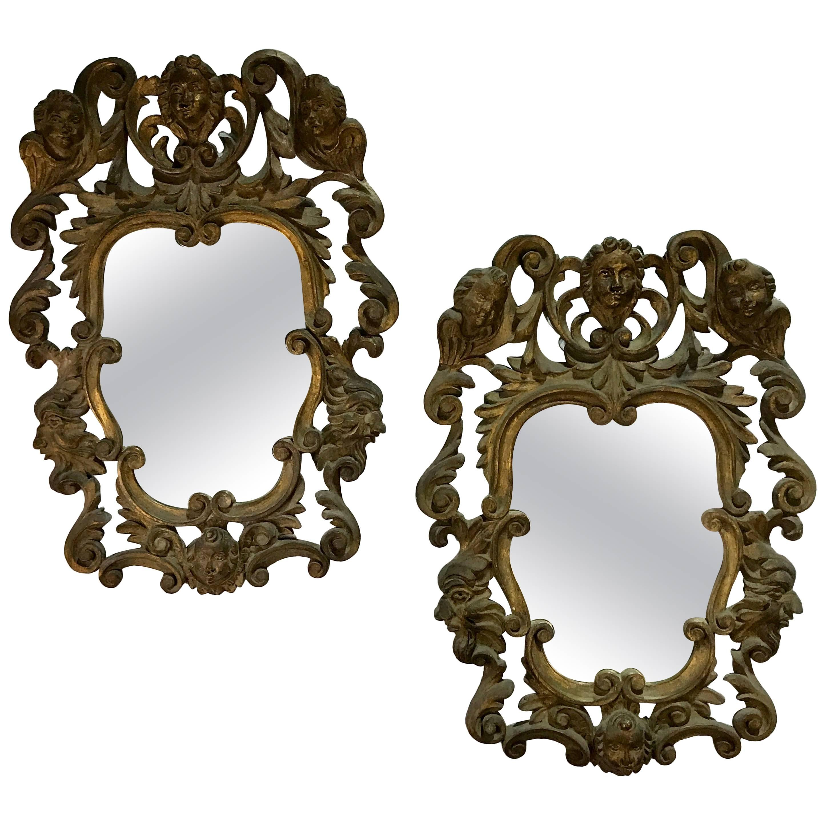 Pair of Italian Baroque Carved Wood Mirrors