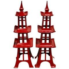 Pair of Midcentury Red Japanese Pagodas, from Walt Disney World