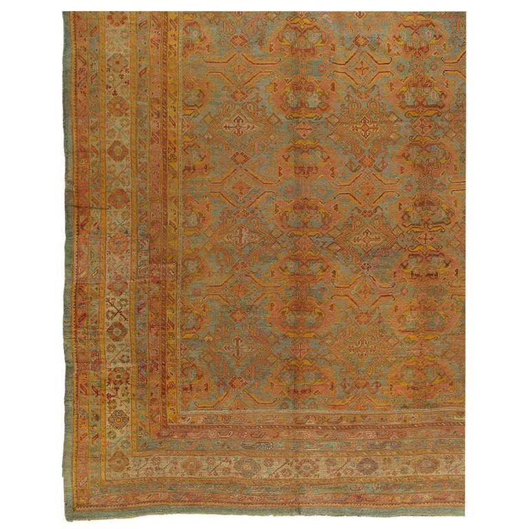 Antique Oushak Carpet, Turkish Handmade Oriental Rugs, Coral, Orange, Light Blue