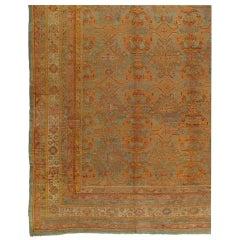 Antique Oushak Carpet, Turkish Handmade Oriental Rugs, Coral, Orange, Light Blue