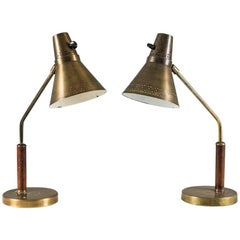 Scandinavian Desk Lamps in Brass by AB E. Hansson & Co, 1940s