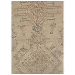 Antique Oushak Carpet, Turkish Handmade Oriental Rugs Gray, Taupe and Light Blue