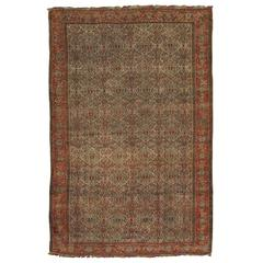Antique Senneh Rug with Multicolored Silk Warp, Handmade, Fine Ivory, Red, Blue