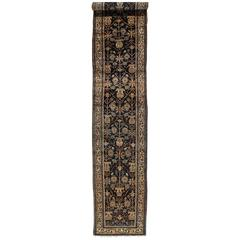 Antique Persian Malayer Runner, Fine Oriental Rug, Navy, Ivory, Taupe Light Blue