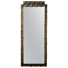 Large Swedish Brass Frame Mirror Made by Artist Claës E. Giertta One of a Kind