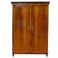 Walnut Wood Wardrobe from the Biedermeier Era